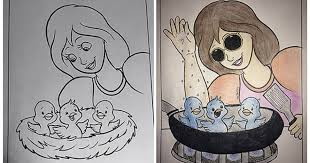 When Adults Turn Childrens Colouring Books Into Dark Humoured Pictures