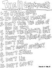 Ten Commandments Coloring Page Picture Tablets Printable