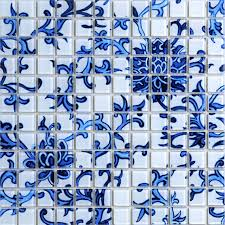 glass tile blue white puzzle mosaic tile crackle