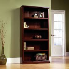 furniture glossy wood sauder bookcase design with white glass