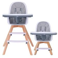 HAN-MM Baby High Chair With Removable Gray Tray, Wooden High Chair,  Adjustable Legs, Harness,...