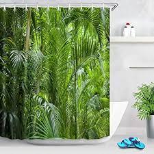 lb tropisch dschungel duschvorhang anti schimmel wasserdicht grün pflanzen bad vorhänge palme blätter polyester badezimmer vorhang mit haken 180x200cm