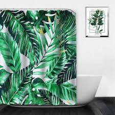 großhandel pflanzen sommer tropical duschvorhang badezimmer wasserdicht polyester duschvorhang blätter druck gardinen für badezimmer roberte