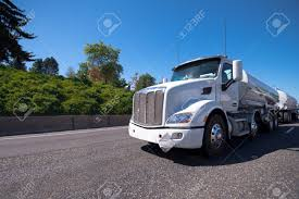 100 Semi Truck Trailers A White Modern Big Rig Semi Truck Tractor With A Two Tank Semi