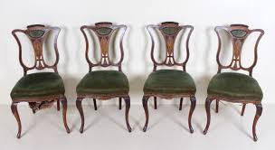 4 Antique Dining Chairs Art Nouveau Victorian Inlaid For ... Antique Vintage Art Nouveau Style Set Of 4 Carved Oak Ding Chairs Of Six French Louis Majorelle Caned Mahogany Unusual Victorian Walnut Wrought Iron Floral Lovely Important By Ernesto Basile For Ducrot 6 517550 Ding Chairs Art Nouveau Chair Set Sold Eight Period Tallback Stunning Inlaid High Back 2 Vinterior Fniture Antique Cupboards Tables