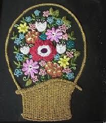 Bead Work Basket Of Flowers Labels Craft