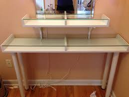 Diy Vanity Desk With Lights by Glass Top Diy Vanity Table With Matching Shelf Decofurnish
