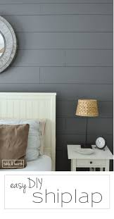 Grey Painted Shiplap Accent Wall In Master Bedroom Installing Your Own Can Be Super Easy This Is A Great Tutorial By Table Hearth For How To