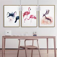 Triptych Lovely Adorable Flamingo Deer Hello Kitty Painting Canvas Fabric Artwork Aesthetic Wall Picture For Bedroom
