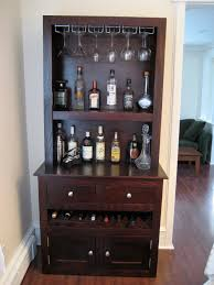 custom liquor cabinet with glass racks open shelving integrated