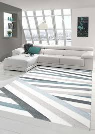 traum teppich designerteppich moderner teppich wohnzimmerteppich kurzflor teppich mit konturenschnitt gestreift grau blau weiß größe 80x150 cm