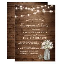 Baby39s Breath Mason Jar Rustic Engagement Party Card