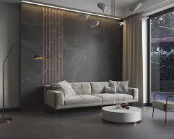 exklusives wohnzimmer mit schwarzem marmor in der hauptrolle