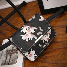 women floral leather shoulder bag satchel handbag retro messenger