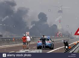 100 Tanker Truck Explosion Bologna Italy 6th Aug 2018 A Helicopter Is Seen At The Scene Of