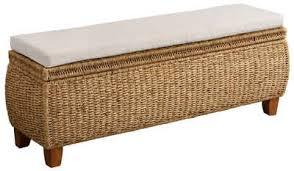 home affaire truhenbank larkson aus wasserhyazinthe inklusive sitzkissen einem aufklappbaren deckel und einem stoffbezogenen innenfach