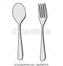Isolated Fork And Spoon Cartoon Drawing Stock Illustration