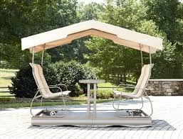 Patio & Outdoor Patio Glider Swing With Canopy Beige Polyester