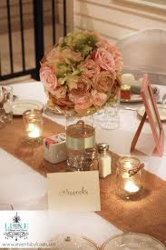 Pastel Wedding Soft Pink And Green Centerpiece Rustic Burlap Mason Jar