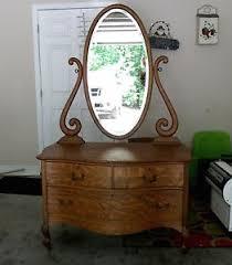antique oak dresser princess vanity swivel oval mirror 3 draw