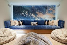 Awesome Navy Deep Seated Sectional And Soft Bean Bag Chair On Beige Shag Rugs