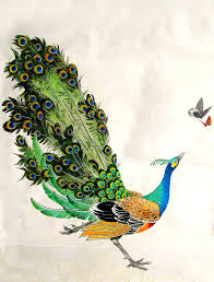 778x1024 Paintings Peacocks Wallpaper