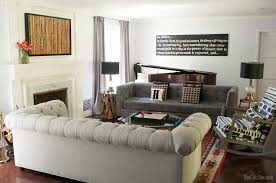 Living Room Makeovers Uk by Gray Living Room With A Two Sofa Layout Two Sofas Facing Each