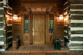 Inspiration For A Rustic Entryway Remodel In Atlanta With Medium Wood Front Door