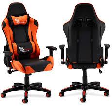ibbe design ergonomisch orange kunstleder gaming stuhl schreibtischstuhl mit armlehne höhenverstellbar drehstuhl belastbar 150kg l66xb65xh127 cm