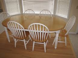 Item 2 Dining Room Table And 6 Windsor Style Chairs Maple White Painted Furniture Labeled MSM Inc Made In Canada