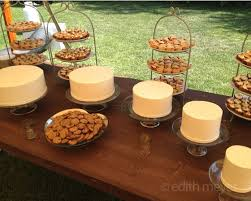 A Rustic Wedding Dessert Table With Simple Cakes Mini Pies And Chocolate Chip Cookies