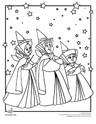 Sleeping Beauty Coloring Pages Disneys Fairy Godmothers Cartoon