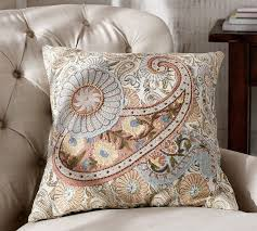 Pottery Barn Decorative Pillows by Selena Paisley Embroidered Applique Pillow Cover Pottery Barn