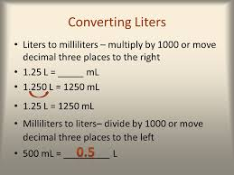 100 milliliters to liters success mathematics ppt