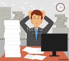 Stressed Businessman In Pile Of Office Papers And Documents Tearing His Hair Out Stress At