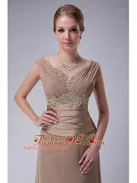 Beautiful Champagne Column V Neck Mother Of The Bride Dress Chiffon Appliques Floor Length