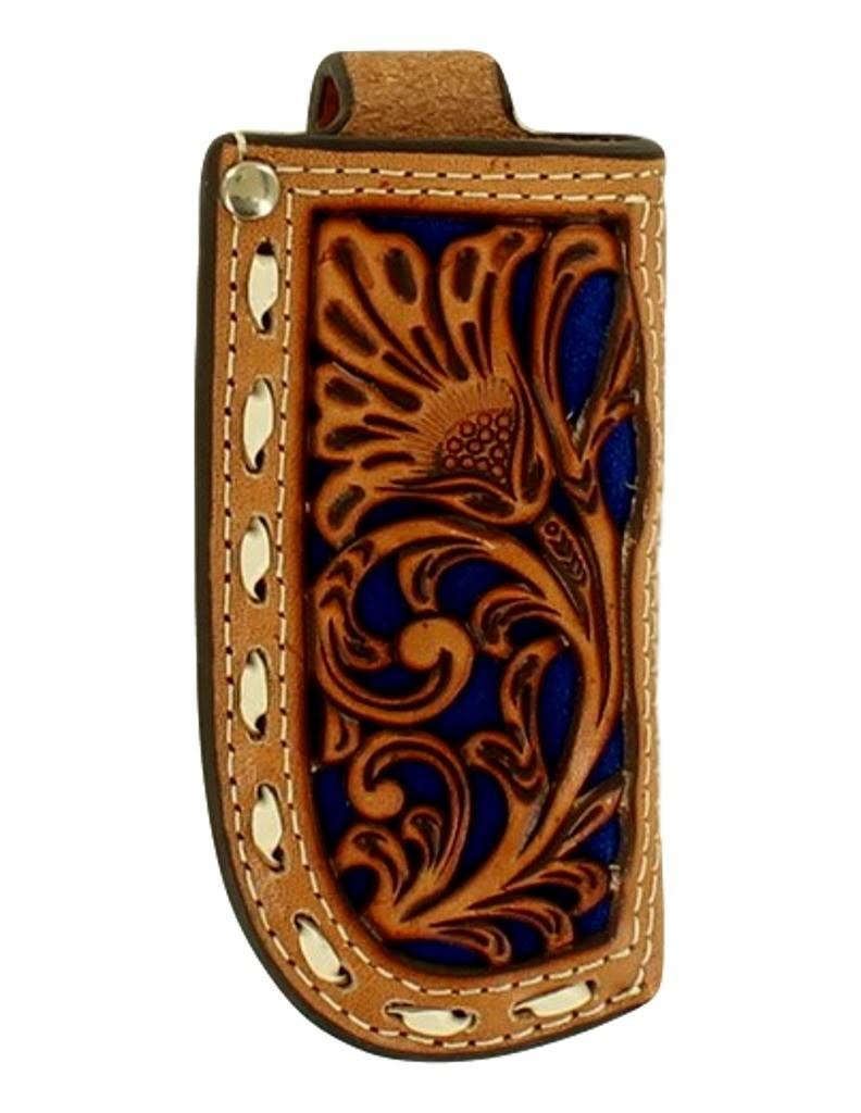 Nocona Floral Tooled Blue Inlay Leather Knife Sheath
