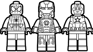 Lego Iron Man Coloring Pages Spiderman And Captain America Drawing