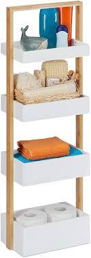 relaxdays 10031461 badregal 4 ablagen bambus mdf badezimmer aufbewahrung schmales ablageregal hbt 88x30x18 cm weiß natur