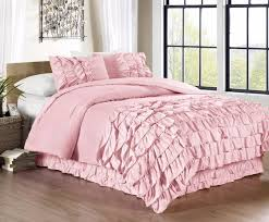 Amazon Chezmoi Collection Ella 3 piece Ruffle Waterfall forter Set Queen Pink Home & Kitchen
