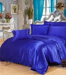 Silk forter sets Royal Blue Satin Bedding set sheets duvet