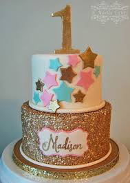 Cake Decoration Ideas With Gems by 1st Birthday Cake With Twinkle Little Star Theme By K Noelle Cakes