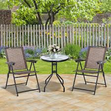 Outsunny 3 Piece Metal Patio Furniture Set Folding Chairs Tempered Glass  Table Portable Adjustable Backrest - Brown Crosley Griffith Outdoor Metal Five Piece Set 40 Patio Ding How To Paint Fniture Best Pick Reports Details About Bench Chair Garden Deck Backyard Park Porch Seat Corentin Vtg White Mid Century Wrought Iron Ice Cream Table Two French White Metal Patio Chairs W 4 Chairs 306 Mainstays Jefferson Rocking With Red Choosing Tips For At Lowescom