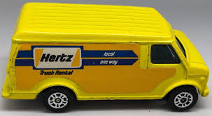 100 Hertz Truck Rental One Way Corgi Juniors Yellow US Custom Chevy Chevrolet Van