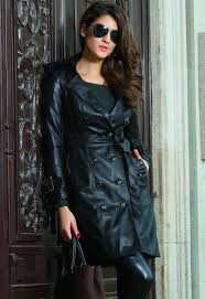 popular leather long trench coat women buy cheap leather long