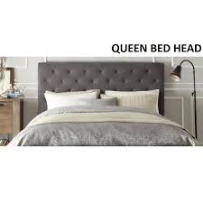 Chester Queen Size Fabric Bed Head Headboard Grey