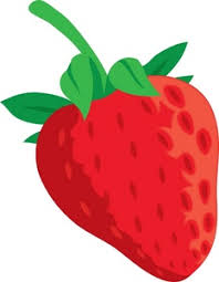Strawberry Clipart Image clip art illustration of a bright red strawberry with a stem