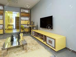 tv gerät im wohnzimmer mit gelb tv an der wand 3d übertragen