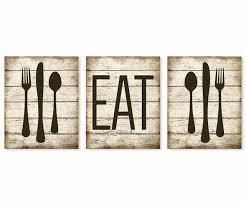 Eat Art Print Rustic Faux Wood Fork Spoon Knife