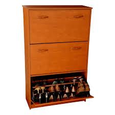 Baxton Simms Shoe Cabinet by 4d Concepts Deluxe Triple Shoe Cabinet Oak Hayneedle